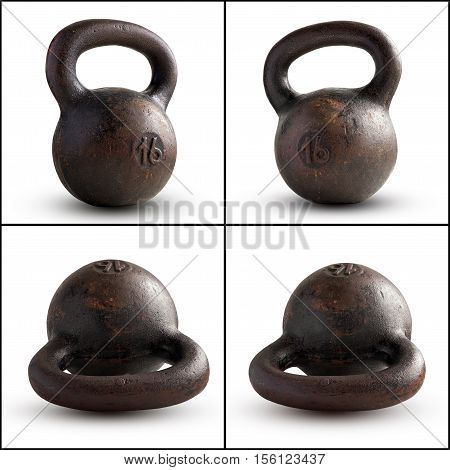 Cast-iron kettlebell 16 kg isolated on white background. Sports equipment.