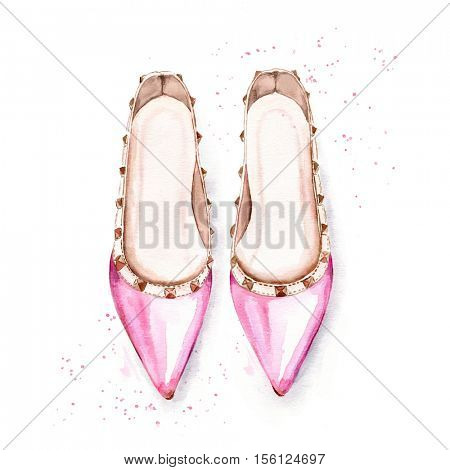 Watercolor illustration of hand painted pink women's ballet shoes