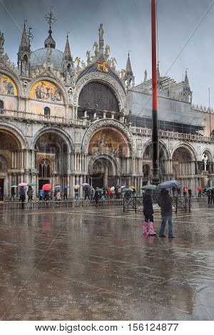 St. Marks Square (Piazza San Marco) during rain in Venice, Italy