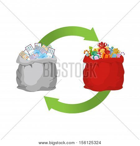 Mail Exchange For Gift. Bag With Letters To Santa Claus And Red Big Sack With Present. Illustration