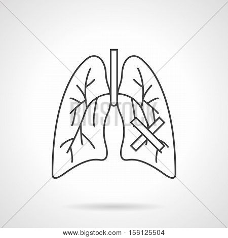 Abstract symbol of human lungs diseases. Tuberculosis, pneumonia, consequences of smoking. Increased risk of cancer. Flat black line vector icon.