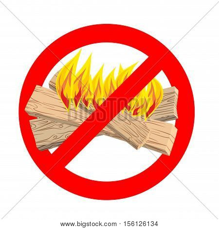 Stop Bonfire. It Is Forbidden To Make Fire. Emblem Against Flames. Red Prohibition Sign. Ban Light