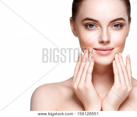 Beautiful Woman Face Portrait. Beauty Model. Isolated On White