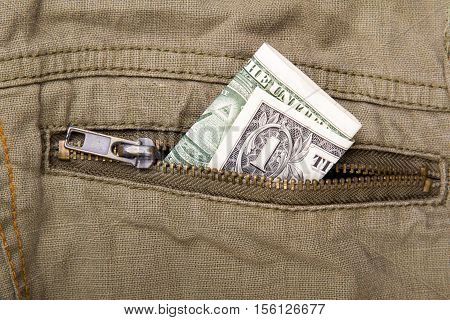 one dollar bill in a pocket, buisness concept