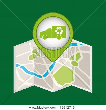 truck recycle icon pin map vector illustration eps 10