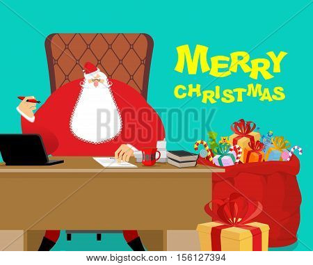 Merry Christmas. Santa Claus At Work. Big Red Bag With Gifts For Children. Desk And Chair Boss. New