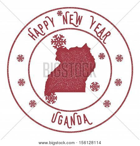 Retro Happy New Year Uganda Stamp. Stylised Rubber Stamp With County Map And Happy New Year Text, Ve