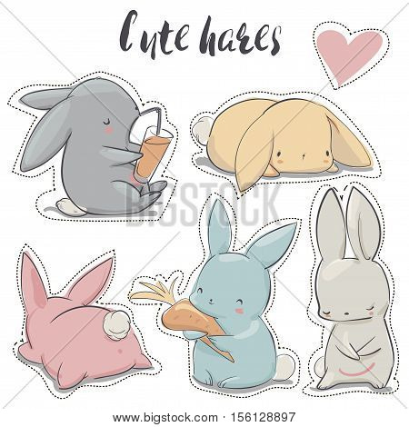 set with vector colorful cute cartoon hares