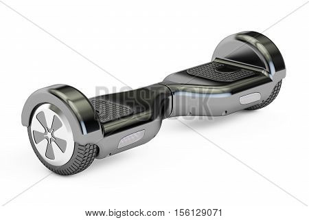 black hoverboard or self-balancing scooter 3D rendering isolated on white background