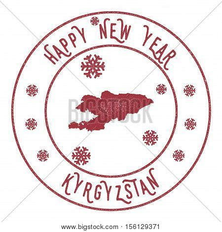 Retro Happy New Year Kyrgyzstan Stamp. Stylised Rubber Stamp With County Map And Happy New Year Text