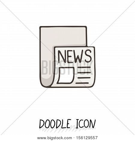 Doodle news icon. Newspaper symbol. Print sheet.