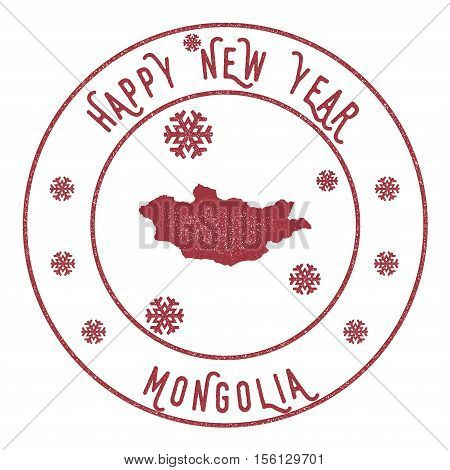 Retro Happy New Year Mongolia Stamp. Stylised Rubber Stamp With County Map And Happy New Year Text,
