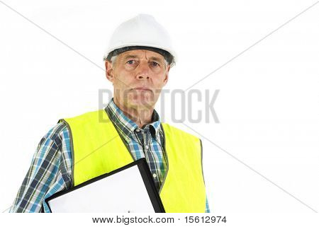 inspector with helmet and life jacket at the working place