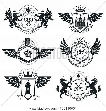 Vintage decorative heraldic vector emblems composed using animal illustrations and different royal elements