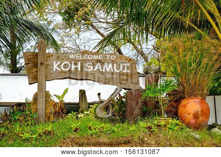 Koh Samui wooden information sign at the Maenam beach, Koh Samui, Thailand