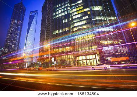 City Night Lights. Night Traffic Transport Night City