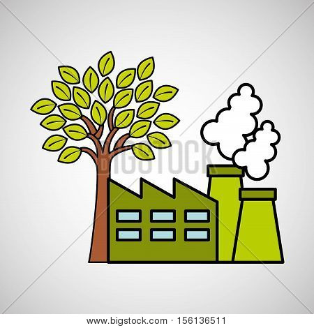 factory ecology tree environment graphic vector illustration eps 10