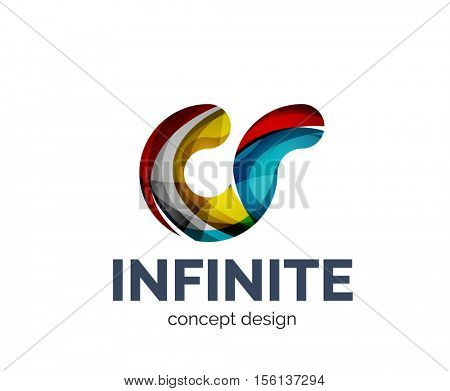 Infinite logo business branding icon, created with color overlapping elements. Glossy abstract geometric style, single logotype