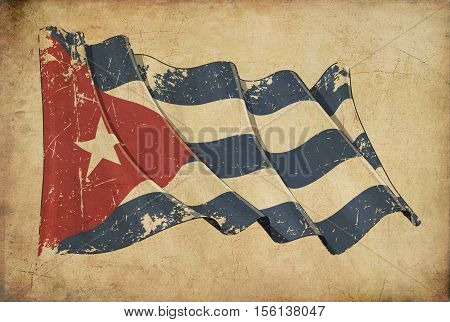 Cuban Grunge Flag Textured Background Wallpaper.