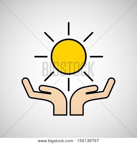 hands care sun warming gobal design vector illustration eps 10