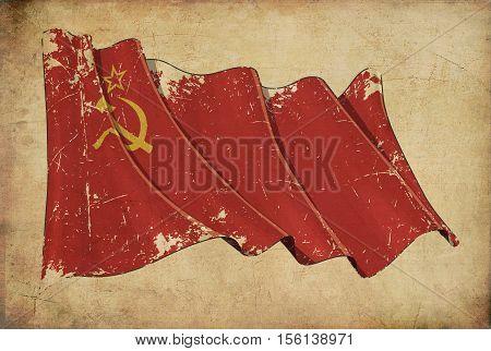 Soviet Union Grunge Flag Textured Background Wallpaper.
