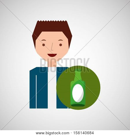 cute boy recycle ecology icon glass bottle vector illustration eps 10