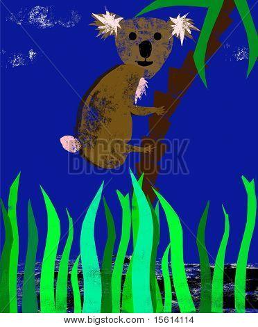 koala bear as grungy illustration poster