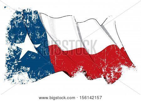 Texas Waving Flag Grunge.