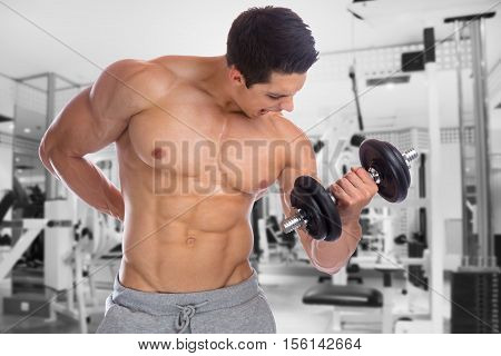 Bodybuilder Bodybuilding Muscles Body Builder Building Gym Power Strong Muscular Young Man Dumbbell