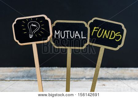 Concept Message Mutual Funds And Light Bulb As Symbol For Idea