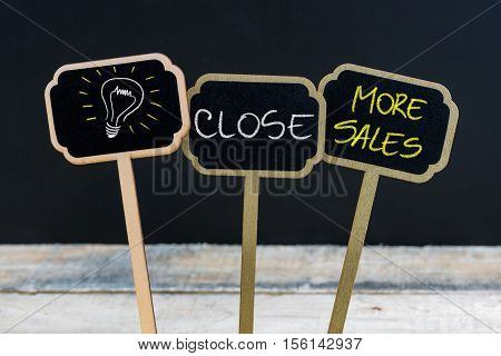 Concept Message Close More Sales And Light Bulb As Symbol For Idea