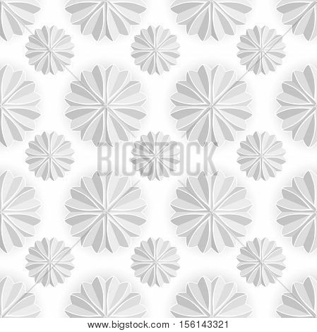 Celebratory background. Volumetric white snowflake on a white background. White mandala. Christmas snowflake. Volume decorative star-shaped marshmallow. White star. Seamless pattern, background.