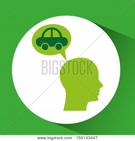 eco silhouette green head vehicle vector illustration eps 10