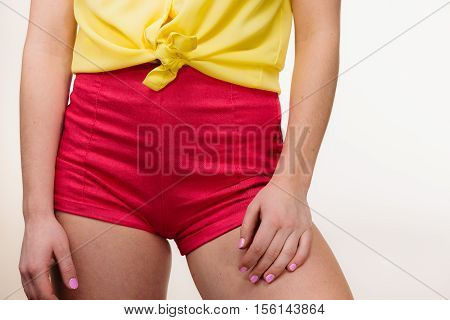Closeup Woman Hips In Shorts
