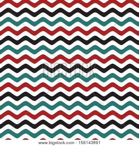 Seamless pattern with a maritime theme. Retro colors. The pattern of sea waves. Seamless vector pattern. Curved stripes pattern. Colorful sea waves. The linear pattern. Linear background.