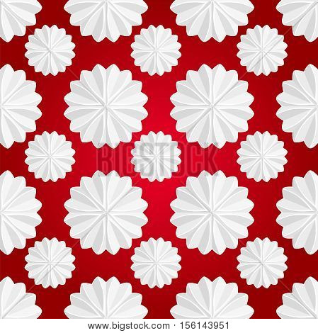 Celebratory background. Volumetric white snowflake on a red background. White mandala. Christmas snowflake. Volume decorative star-shaped marshmallow. White star. Seamless Christmas pattern.