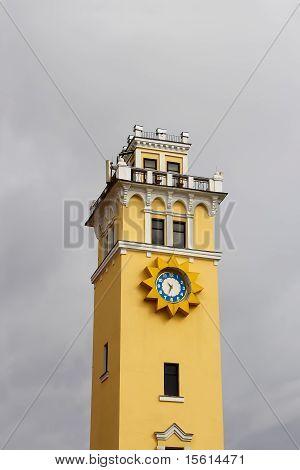 City clock tower against cloudy sky. Khmelnytsky Ukraine poster