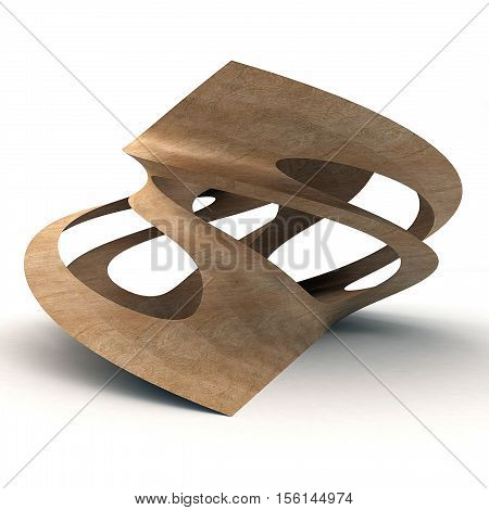 3D Illustration Of Twisted Wood Isolated On White