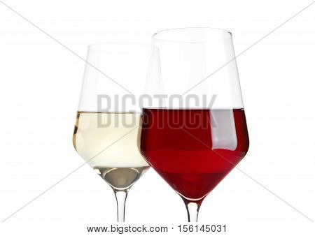 Glasses of red and white wine on white background