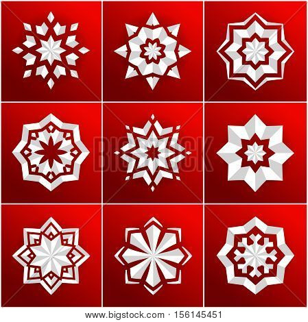 Set of volumetric white snowflake on a red background. The bulk of the star. Large set. Christmas snowflakes. Holiday decorations. Volumetric snowflake on a dark background. Christmas star. Mandala.