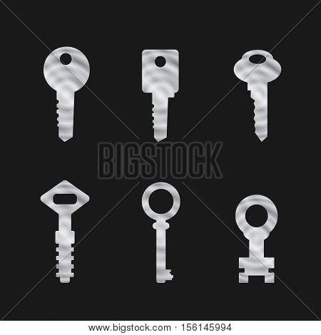 Door key set . Silhouettes of keys for the doors in minimalist style