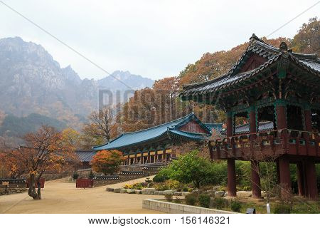 The building of Buddhist Sinheungsa Temple in Seoraksan National Park South korea