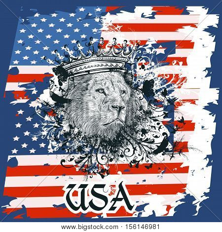 American design illustration for T-shirt prints with USA flag and lion in crown