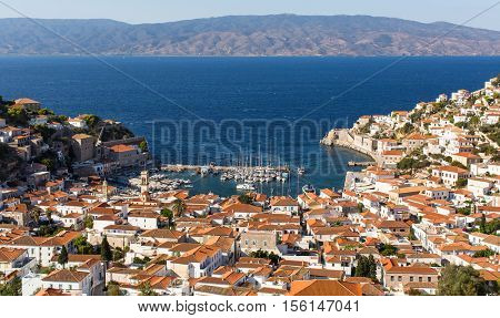 Top view on the Yacht marina of Hydra island, Greece.