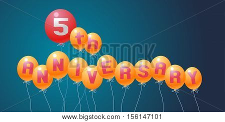 5 years anniversary vector illustration banner flyer logo icon symbol. Graphic design element with air balloons for 5th anniversary