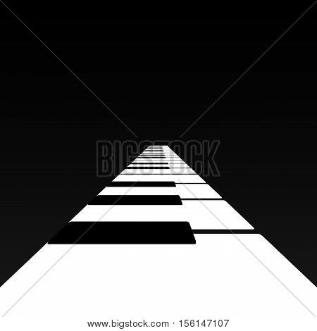 Piano keys in a road receding into the distance.