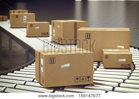 Closed cardboard boxes and wrapped with adhesive on conveyor roller. 3D Rendering