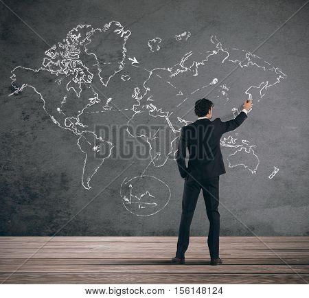 Concept of businessman that plans a global business