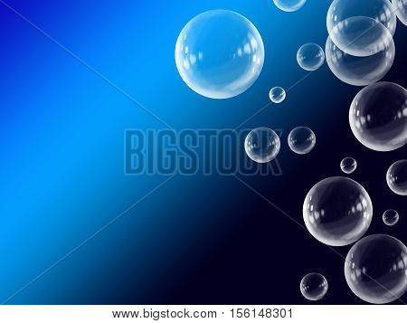 Blue White Abstract Gradient Floating Bubble Background