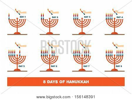 lightning candles for jewish holiday , hanukkah. vector illustration